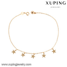 74965 wholesale cheap fashion jewelry 18k gold color simple design star shape anklet with small bell for ladies