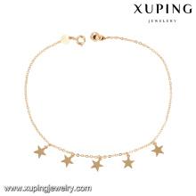 74965 atacado barato moda jóias 18 k cor do ouro design simples estrela forma tornozeleira com pequeno sino para senhoras