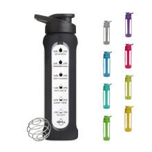 Wholesale Custom Sport Portable Wide Neck Glass Protein Shaker Water Bottle
