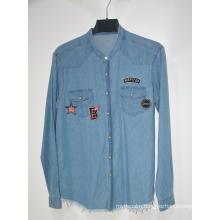 Wholesale Cheap Casual Contrast Denim Mens Shirts