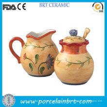 Artistic Hand Painted Creamer and Sugar Jar
