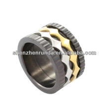 hot sell!!!high polished stainless steel ring with 2 rhombus bunch for men