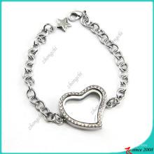 Flutuante coração pulseira Locket para a menina (lb16041202)