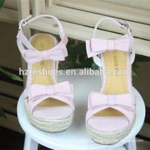 Bowknot соломы клин сандалии одной платформы высокие каблуки для женской обуви сладкие женские туфли