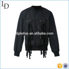 Chaqueta negra de encargo del bombardero del diseño especial de la chaqueta de la chaqueta de la chaqueta de 2017 hombres negros de alta calidad
