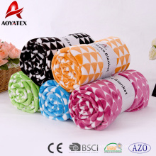 Well designed solid geometrical pattern super soft plush flannel fleece blanket