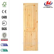 30 pulg. X 80 pulg. 2-Panel Núcleo Sólido Arco Sin Terminar Arriba V-Ranurado Pino Nudoso Single Prehung Puerta Interior
