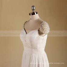 Manga clásica del casquillo Una línea Alibaba rebordeó el vestido nupcial del vestido de boda de playa de Boho