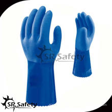 SRSAFETY Blue PVC Rubber Gloves Made In China