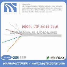 1000FT 4pairs Cat6 сети твердого медного кабеля UTP