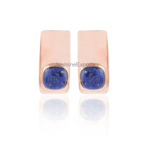 Beautiful Lapis Lazuli Rose Gold Plated Sterling Silver Gemstone Earring