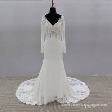 Luxury Long Sleeve Mermaid Pearls Beaded Saudi Arabia Bridal mermaid deep v wedding dresses with sleeves