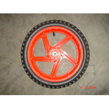 "14x1.75"" semi-pneumatic wheel with plastic wheel rim"