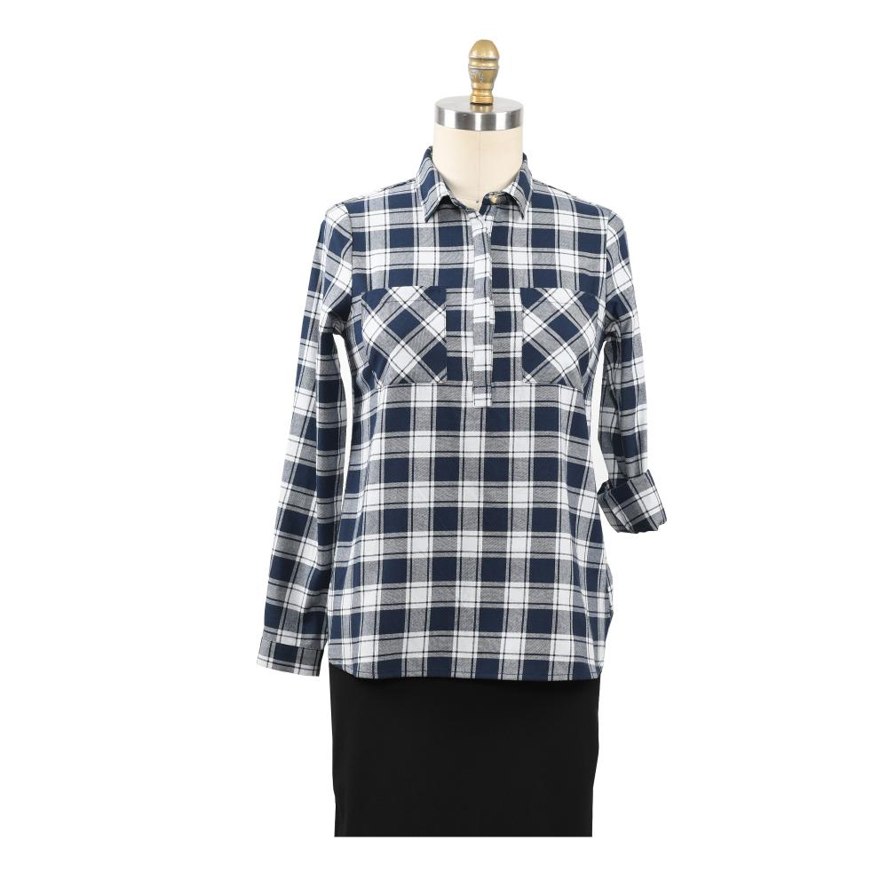 2020 Fashion Women Plaid Shirt Chic Checked Blouse