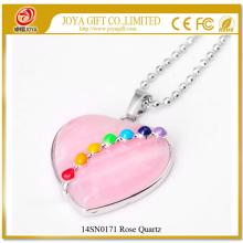 7 Chakras Gemstone Rose Quartz Heart Pendant Necklace