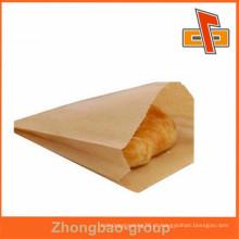 Saco de material de papel kraft bolsa de comida reutilizável com gusset lateral