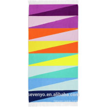 Custom Velour Sunny life Colorful Beach Towel BT-348 China Supplier