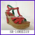 SR-14WHE519 sandalias de la PU de la cuña del modelo nuevo sandalias de las señoras de la manera de la sandalia de 2014 mujeres sandalias