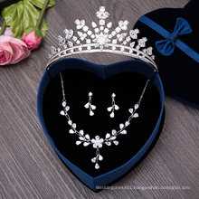 One Set Bridal Tiaras Necklace Set Earring Wedding Crown
