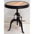 Industrial Crank Table Round Wooden Top Iron Frame