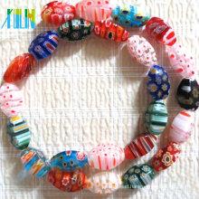 lampwork stone hollow facet twist millefiori beads