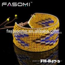 FASOMI отличный японский семян бисера браслет кожа обертывание