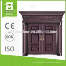 Porta de cobre de villa de folha dupla de alta qualidade com design de luxo