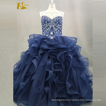 ED Bridal Ball Gown Beaded Real Picture Sleeveless Lace-Up Back Blue Organza Quinceanera Dress