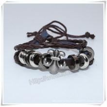 Fashion Jewelry Wholesale, Handmade Custom Infinity Black Fake Leather Bracelet (IO-CB159)