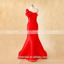 MB16002 Einzigartige schöne Brautkleider Rüsche Ein-Schulter Trompete / Meerjungfrau Abendkleider Heirat Kleider Fabrik