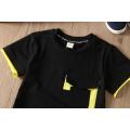 Atacado verão preto casual crianças roupas infantis roupas t-shirt para meninos