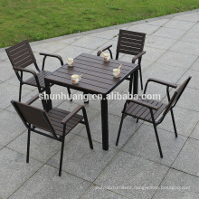 Outdoor or indoor plastic wood furniture wooden dining set with armrest chairs