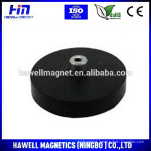 D22mm x 6mm thick rubber coated pot magnet with M4 hook