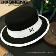 Wide Brim Ribbon Warm Wool Bowler Fedora Blend Felt Hat