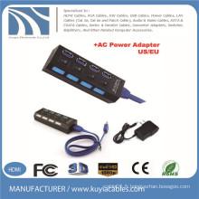 Hub USB 3.0 4 ports avec commutateur secteur individuel et éclairage LED US / UE