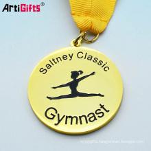 oem promotion cheap soft enamel logo sport gold gymnastics medal display