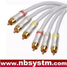3xRCA PLUG auf 3xRCA Stecker rot / weiß / gelb / blau / grün