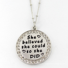 Words Custom Stainless Steel Round Pendant Fashion Jewelry Necklace