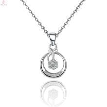 Kette 925 Sterling Silber Große Runde Anhänger Kristall Halskette