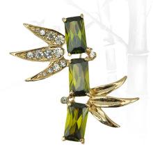 VAGULA Зеленый бамбук золото обшивки горный хрусталь брошь