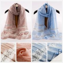 fashion scarf 2017 best-selling china wholesale women long silk wool muslim hijab scarf silk scarves and shawls wholesale