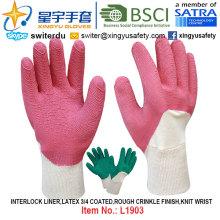 Лайнер блокировки, латексные перчатки с покрытием 3/4 (L1903), грубая отделка морщин, запястье с CE, En388, En420, рабочие перчатки