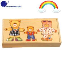 Wooden Cartoon Happy Bear Family Dress Up Puzzle