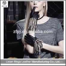 Mode italienischen Kleid Frauen Hand gemacht Motorrad fahren gefranste Leder Handschuhe