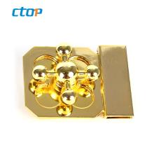 custom private printed bag clip lock fashion hardware light gold decorative turn lock for purse