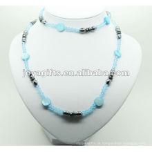 Moda hematita contas de vidro azul wrap