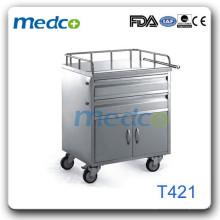 Chaud! Chariot médical en acier inoxydable T421