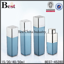 15ml 30ml acrylic square airless bottles, factory direct airless bottles and jars free samples china supplier