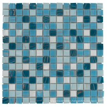 Soulscrafts Blue Gold Line Glass Mosaic Kitchen Backsplash Glass Tile