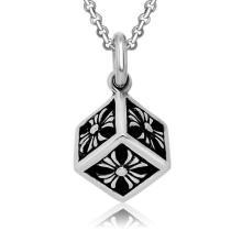 Titane acier cube collier pendentif hommes bijoux de mode